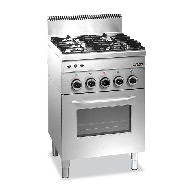 Cucina A Gas 4 Fuochi Valvolati Forno A Gas E Grill Elettrico Minima 600 G4sf6 Mbm Varlese Srl